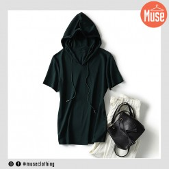 Muse Hooded Cotton Short-sleeve Tshirt