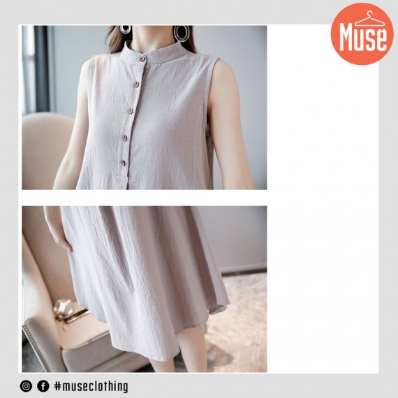 Muse Linen Loose Style Mid-length Dress